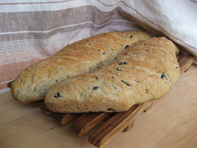 2 loaves of Kalamata olive bread
