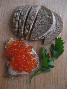 Caviar on rye bread