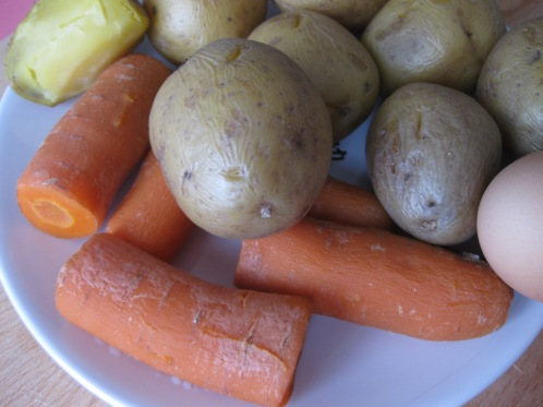 boiled vegetables for Olivie