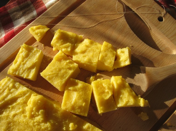 polenta squares ready for frying
