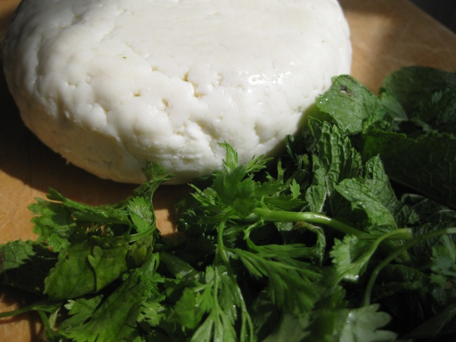 Adygea cheese with mint and coriander