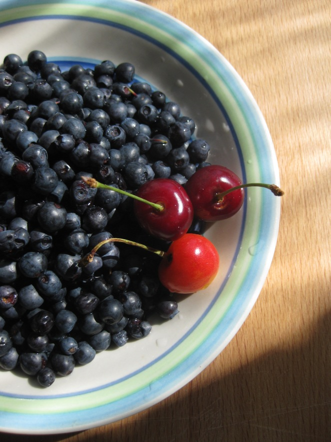 blueberries and sweet cherries