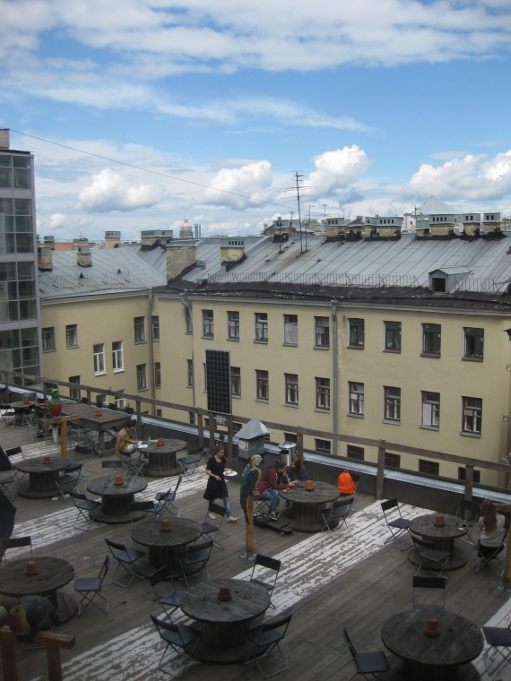 Cafe on the roof in St Petersburg