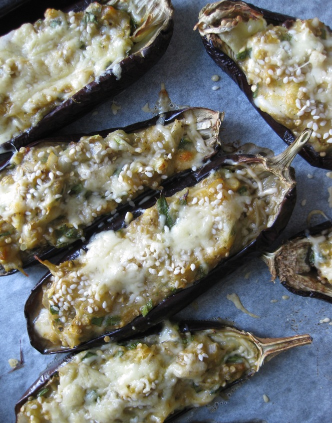 baked stuffed zucchini and aubergines
