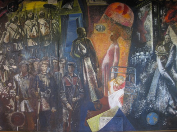 Wall Painting 'War' at Podvig cinema hall in Kolpino
