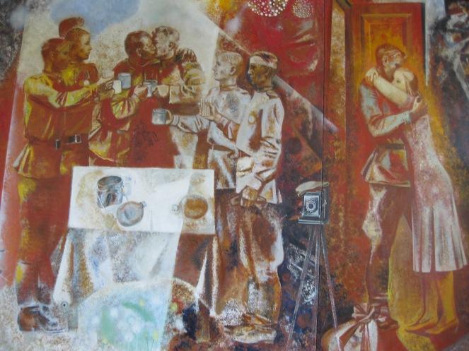 Wall Painting 'Salute' at Podvig cinema hall in Kolpino