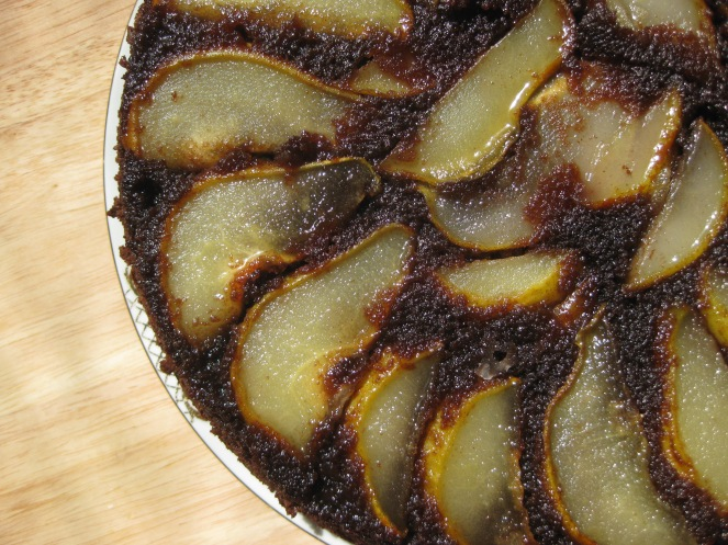Upside-Down Pear Chocolate Cake from marcussamuelsson.com