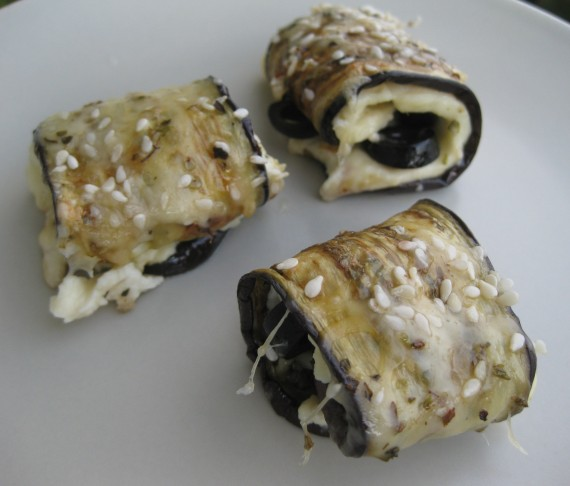 Garlicky Aubergine Rolls with Cheese and Olives